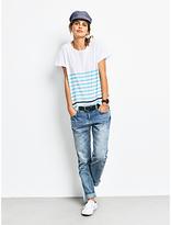 Hush Boxy Striped Slub T-Shirt, White/Radiance/Navy