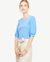 Ann Taylor Square Neck Elbow Sleeve Top