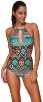 Pink Wind PinkWind Women's Plus Size Ethnic Print Cut-Out One Piece Monokini Swimwear S
