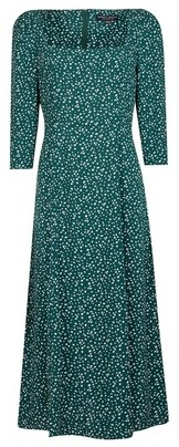 Dorothy Perkins Womens Green Spot Print Square Neck Skater Dress, Green