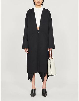 Loewe Collarless wool and cashmere-blend coat