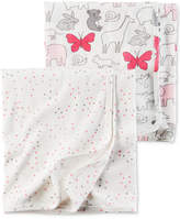Carter's 2-Pk. Hearts and Animals Cotton Swaddle Blankets, Baby Girls