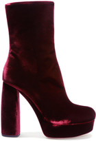 Miu Miu Leather-trimmed Velvet Ankle Boots - Claret
