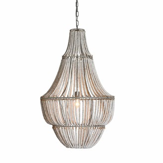 Creative Co-op Wash Metal and White Wood Beads Chandelier