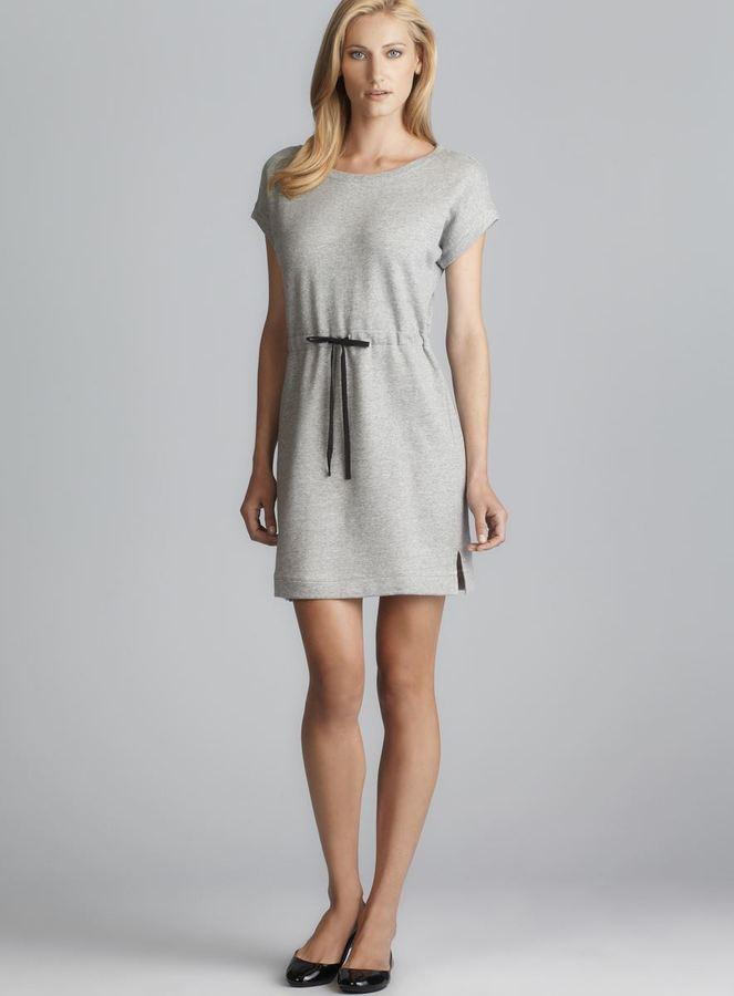 Joan Vass Short Sleeve Drawstring Waist Terry Dress