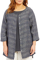Eileen Fisher Plus Round Neck 3/4 Sleeve Box-Top Cardigan
