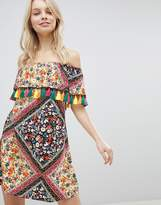 Glamorous Off Shoulder Printed Dress With Tassels