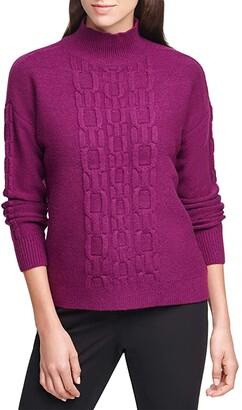 Calvin Klein Chain Stitch Solid Mock Turtleneck (Dark Purple) Women's Clothing