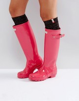 Hunter Pink Knee High Glitter Boot Socks