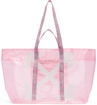 Off-White Off White Pink and White Arrows Tote