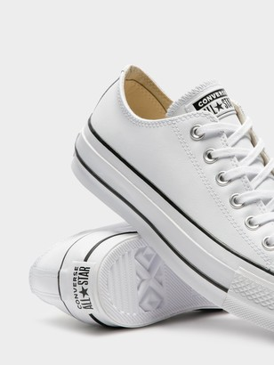 Converse Womens Chuck Taylor All Star Leather Platform Sneakers in White & Black