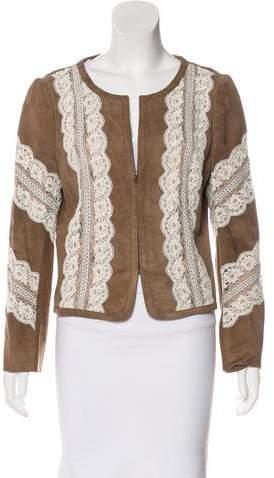 Valentino Lace-Paneled Suede Jacket