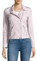Rebecca Taylor Washed Lamb Leather Moto Jacket, Lavender