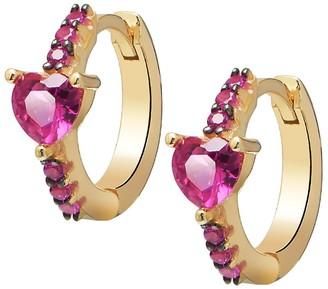 GABIRIELLE JEWELRY I Heart You Gold Vermeil Cubic Zirconia Huggie Earrings