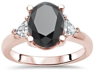 Front Jewelers 2 3/4 ct Tdw Oval Cut Black Diamond 3 Stone Trillion Diamond Engagement Ring 14k Rose Gold