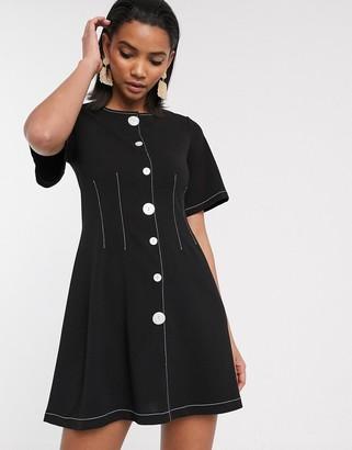 Asos Design DESIGN contrast stitch button through mini dress-Black