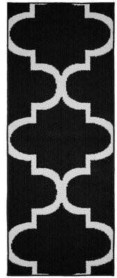 Ebern Designs Bathampton Large Quatrefoil Black Area Rug Ebern Designs Rug Size: Runner 2' x 5'
