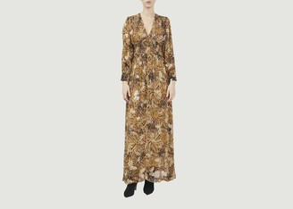 BA&SH Golden Long Sleeves Quartz Long Dress - 1 | gold - Gold/Gold