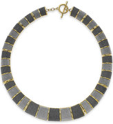 ABS by Allen Schwartz Gold-Tone Gray Texture Collar Necklace