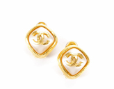 Chanel Faux Pearl CC Gold Trimmed Clip On Earrings