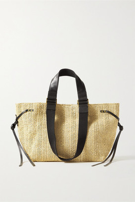 Isabel Marant Bagya Leather And Canvas-trimmed Raffia Tote - Beige