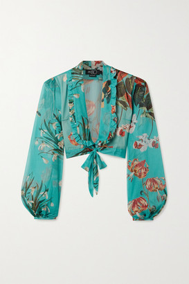 PatBO Carolina Cropped Tie-front Floral-print Chiffon Top - Turquoise