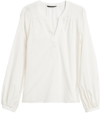 Banana Republic Petite Cotton Balloon-Sleeve Top