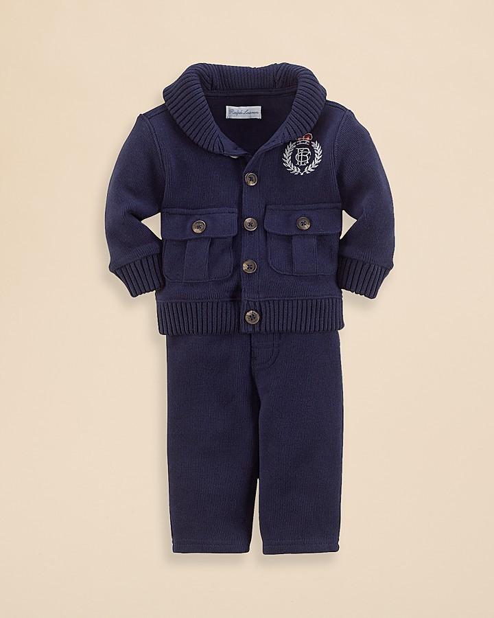 Ralph Lauren Infant Boys' Shawl Cardigan & Pants Set - Sizes 3-9 Months