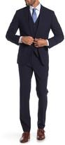 Brixton Savile Row Co Navy Plaid Two Button Peak Lapel Trim Fit Suit