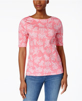 Charter Club Petite Cotton Coral-Print Boat-Neck Top, Created for Macy's
