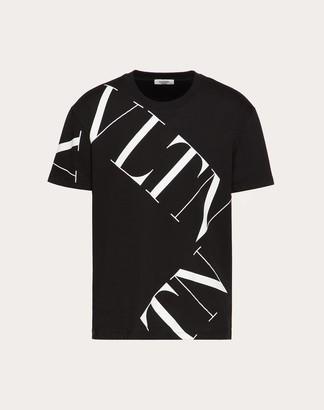 Valentino T-shirt With Vltn Macrogrid Man Black Cotton 100% XL