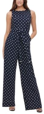 Tommy Hilfiger Polka-Dot Tie-Waist Jumpsuit
