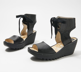 Fly London Leather Lace-Up Wedges - Yove