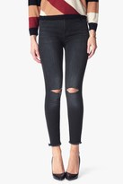 7 For All Mankind High Waisted Ankle Skinny With Released Hem In Ashford Black
