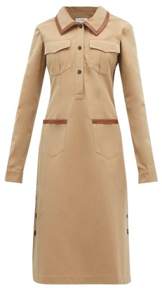 Wales Bonner Leather-trimmed Cotton Shirtdress - Camel
