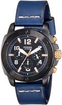 Fossil Men's FS5066 Modern Machine Black Stainless Steel Watch with Leather Band