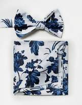 Asos WEDDING Bow Tie & Pocket Square In Blue Floral Print