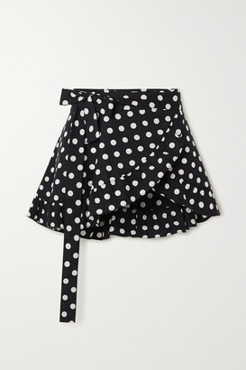 Caroline Constas Ruffled Polka-dot Cotton-blend Wrap Mini Skirt - Black