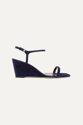 STAUD Astrid Suede Wedge Sandals - Navy
