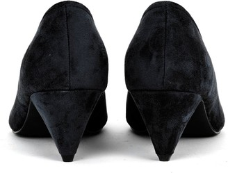 Evans Extra Wide Fit Fliss Cone Heel Microfibre Court Shoes - Black