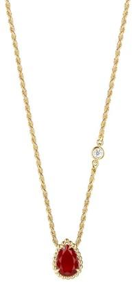 Boucheron Yellow Gold Carnelian Serpent Boheme Necklace