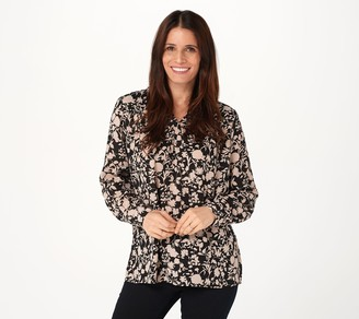 Susan Graver Printed Woven Long-Sleeve Pullover Top