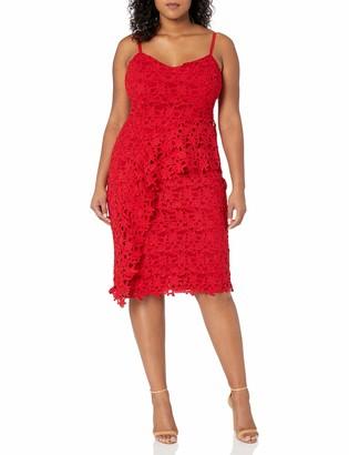 City Chic Women's Apparel Women's Plus Size V-Necked Dress with Peplum Frill Waist Detail