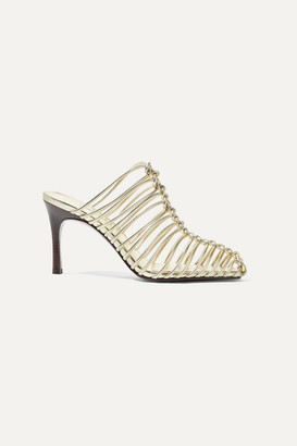 3.1 Phillip Lim Sabrina Woven Metallic Leather Mules - Gold