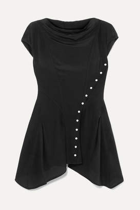 Rick Owens Asymmetric Silk Blouse - Black