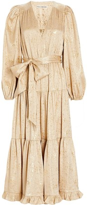 Ulla Johnson Helena Gilded Silk Midi Dress