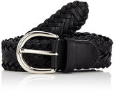 Barneys New York Men's Braided Leather Belt-BLACK