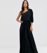 Asos Tall DESIGN Tall one shoulder pleated crop top maxi dress