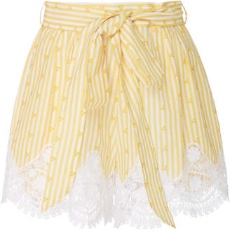 Miguelina Liana Striped Lace-Trimmed Cotton Shorts