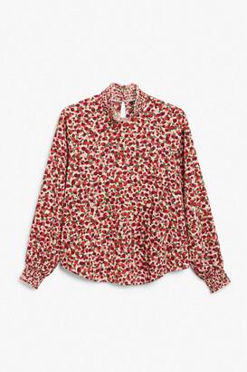Monki Shirred turtleneck blouse
